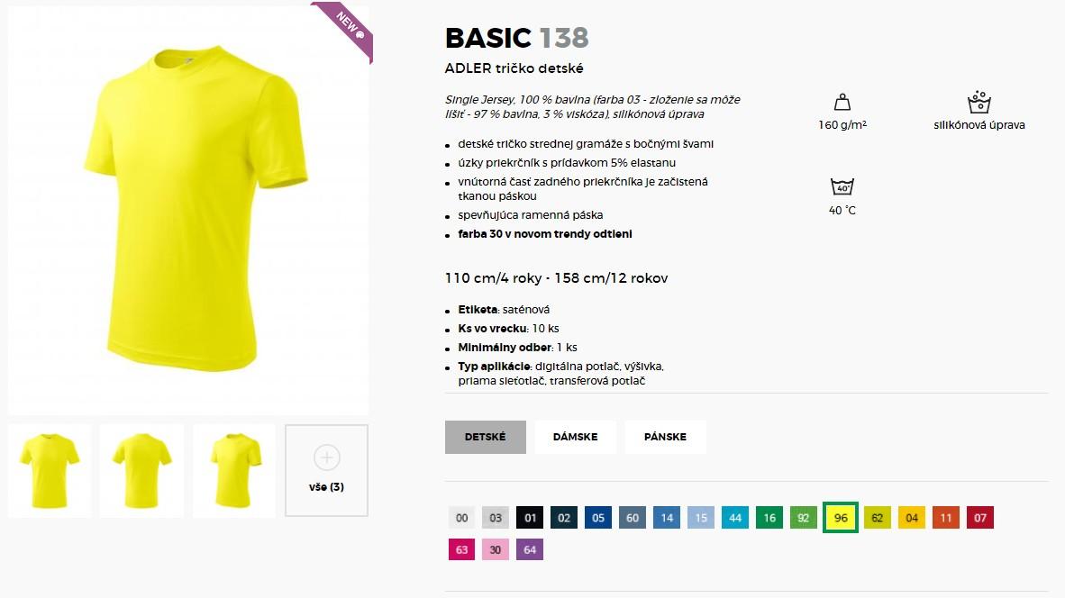 3c29be236f6d Detské tričko jednofarebné