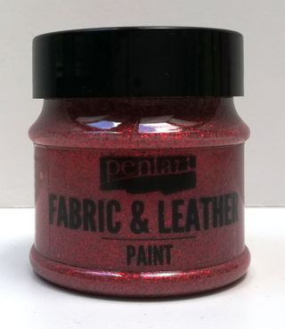 Pentart fabric/leather paint glitrová červená