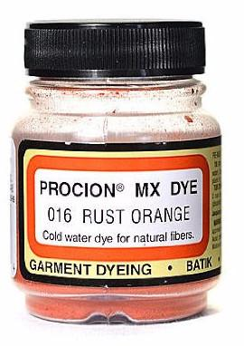 Jacquard Procion MX dye 2016 rust orange