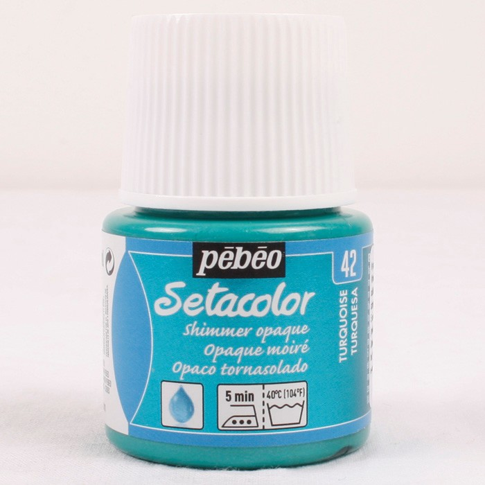 Pebeo Setacolor opaque 42 shimmer turquoise